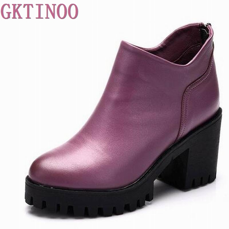 GKTINOO Autumn spring female ankle boots with cut outs square heels round toe platform soft genuine leather women fashion boots цены онлайн