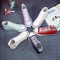 Бесплатная Доставка 2016 новый стиль мода марка 10 цвета высокие женщины мужская обувь бренда холст обувь досуг любовник обувь размер 35-44