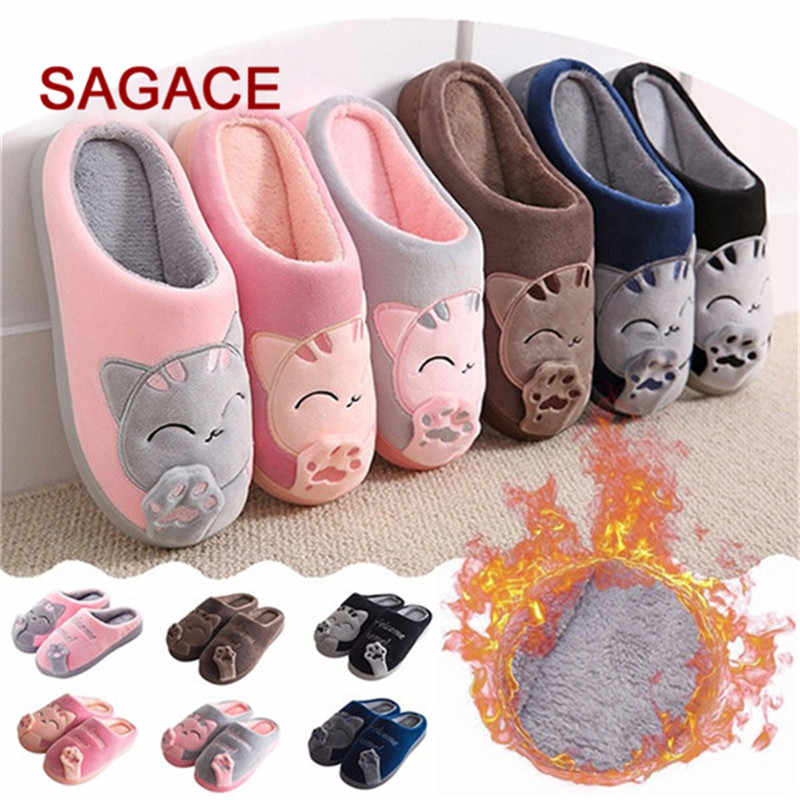 B-Women /Men Couple Shoes Winter Home Slippers Cartoon Cat Non-slip Warm Indoors Bedroom Floor Shoes