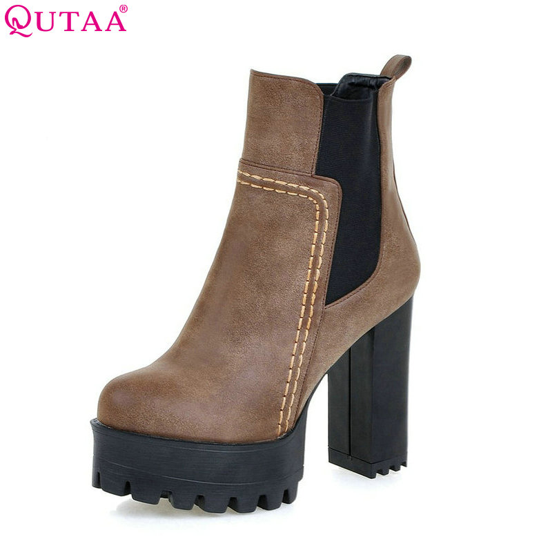 QUTAA Black Punk PU leather Retro Square High Heel Ankle Boots Round Toe Solid Slip On Women Motorcycle Boots Size 34-43 цена