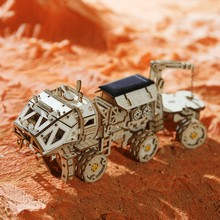 Robud 3D DIY Discovery Rover Solar Energy Space Hunting Wooden Model Building Kits Popular Toys for Children Adult LS504(China)