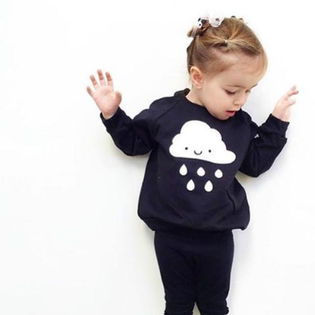 2016 casual niños niñas deporte sudaderas con capucha de dibujos animados nubes clothing sudadera niños ropa de bebé niños chaqueta de la capa 2-6 t