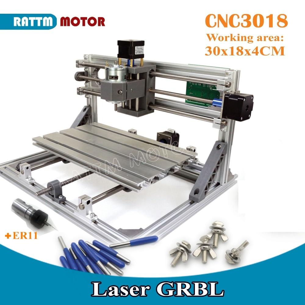 все цены на UA Free Ship!! CNC 3018 GRBL control Diy CNC machine 30x18x4.5cm,3 Axis Pcb Pvc Milling machine Wood Router laser engraving v2.5 онлайн
