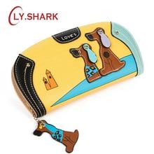 LY SHARK Cartoon dog women purse bag designer wallets famous brand women wallet long font b