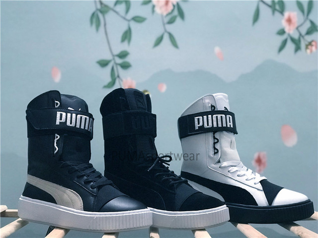 47cfca047b49 Original Puma Platform Womens Boots Lace Up Trainers Leather Women s  Sneakers Bow Badminton Shoes Size35.