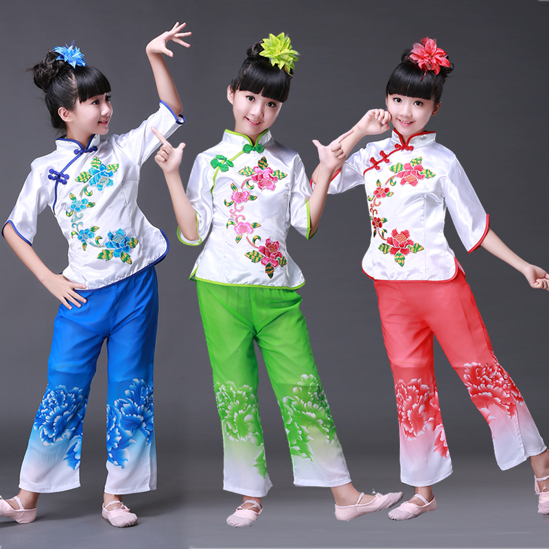 Chinese Folk Dance Children 39 s Dance Clothing Girl Fan Drum Dance Custome Yangko Dance Classical Costume in Chinese Folk Dance from Novelty amp Special Use