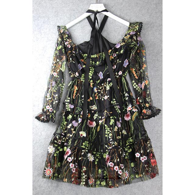 Halter Neck Stunning Embroidery Dress