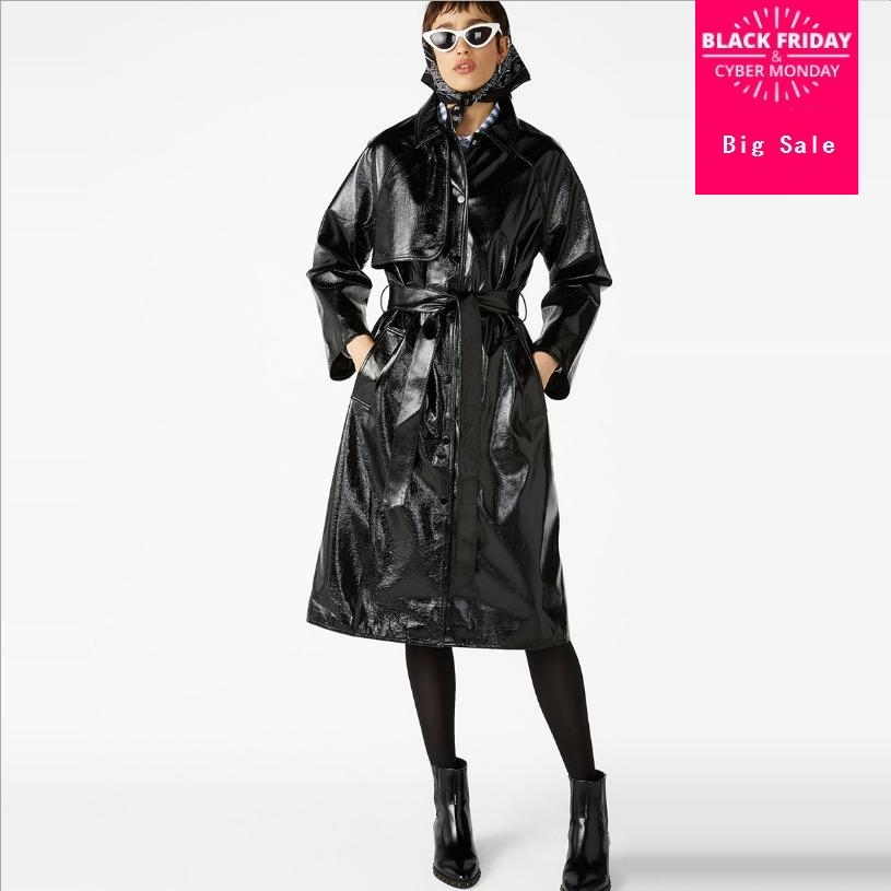 Autumn and winter fashion new PU jacket windbreaker women single-breasted lace up coat black reflective leather outwear L1414