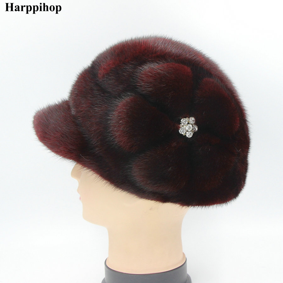 Real mink fur hat for women winter full fur hat with flower side 2017 new arrival good quality multicolor female luxury real mink fur hat for women winter full fur hat with flower top 2016 new arrival good quality multicolor female luxury mink cap