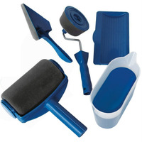 5Pcs Paint Roller Brush Handle Tool Set DIY Painting Flocked Edger Home Wall For Garden Office