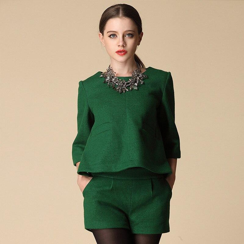 European Elegant Women T Shirt Shorts suit 2 Piece Set Women ...