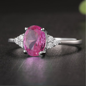 Image 4 - KE004P Solid 925 Sterling Silver Rings For Women Created Pink Ruby Emerald Gemstone Ring Wedding Engagement Band Jewelry Gift