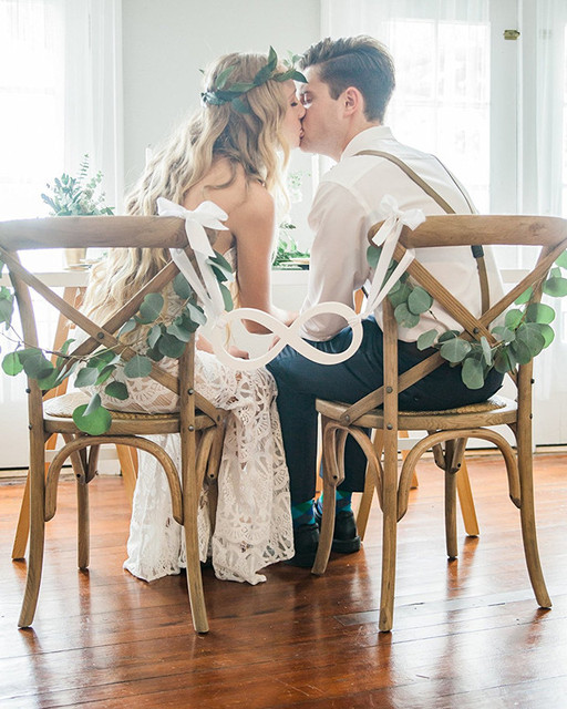 wedding decorations chairs receptions bohemian hanging chair sign infinity bride groom reception decoration for between acrylic white color