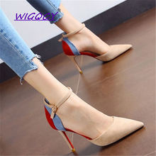 Suede Pointed Toe Thin Heels High sandals women Autumn Summer shoes woman Was Shallow Buckle Strap ladies