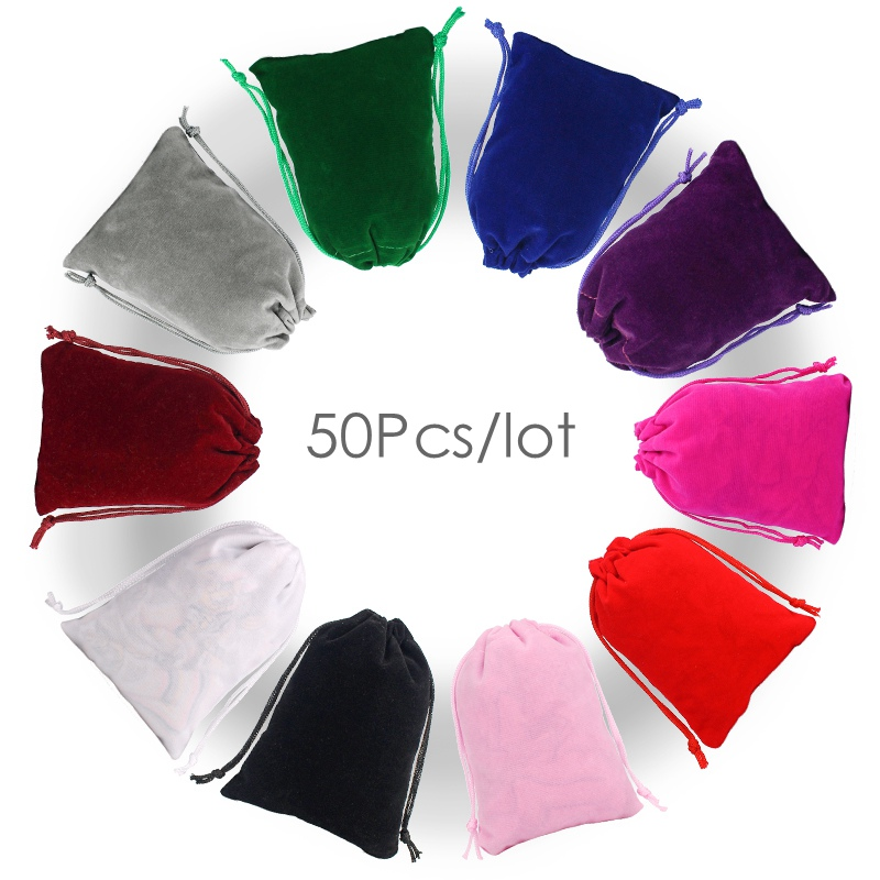 50Pcs/lot Drawstring Velvet Bag 12x15 13x18cm Pouches Small Size Jewelry Gift Display Packing Bags Can Customized