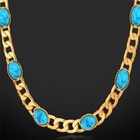 Kpop colliers pour femmes choker or couleur bleu pierre colliers bijoux de mode 55 cm long vintage collier n101