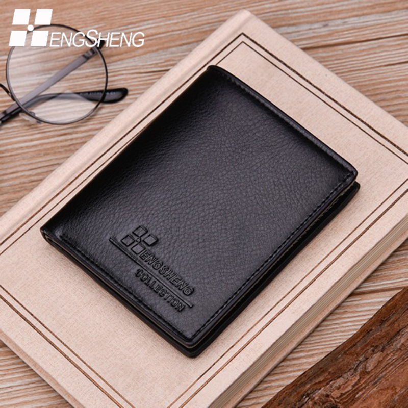 HENGSHENG men purse wallets carteira masculina short wallet carteras leather famous purses credit card holder brand mens walet hot 2016 new designer brand business black leather men wallets short purse card holder fashion carteira masculina couro qb1268