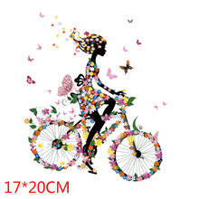 Beautiful lovely girl Cycling Patches Heat Transfer Iron On Patch A-level Washable Clothes Stickers Easy Print  Irons