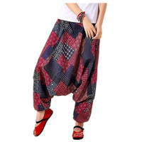 Men Spring Summer Yoga Bloomers Male Casual Travel Harem Pants Fluid Big Crotch Pants Indian Nepal