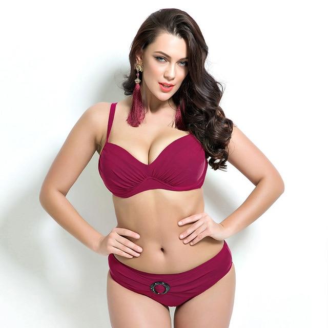 7a400012232e8 Push up bikini sexy women swimwear summer beach top swimsuit solid  underwire plus size bikini sets
