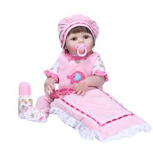 56cm Realistic Soft Full Silicone Vinyl Newborn Babies Toy Girl Princess Clothes Pacifier Lifelike Handmade Gift Reborn Doll