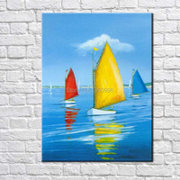 Hand Painted Abstract Oil Painting Huge Modern Yacht Quadros Paintings For Living Room Wall Color Boat