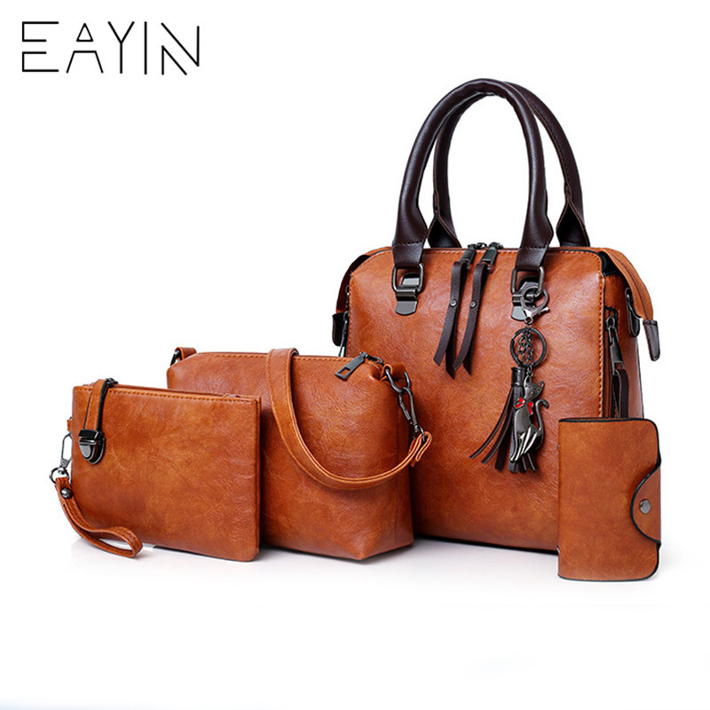 EAYIN 4pcs Set Bag Luxury Designer Handbags Women Bags Female PU Leather Shoulder Messenger Bags Women Tote Bag Bolsa feminina vintage women pu leather handbags patchwork shoulder bags messenger bags casual tote diagonal bag female bags bolsa feminina