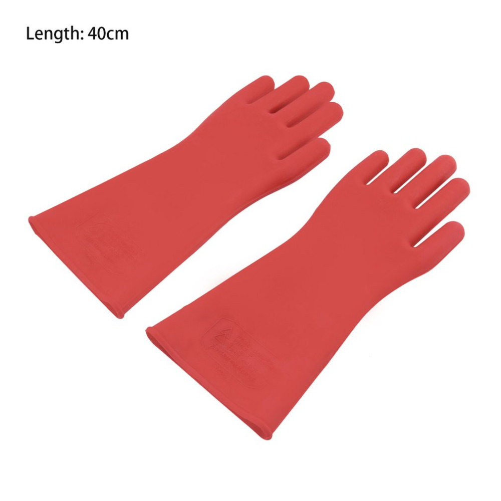 1 Pair Red Professional 12kv High Voltage Electrical Insulating Gloves Rubber Electrician Safety Glove 40cm Accessory 12kv live working gloves insulated high voltage insulated rubber gloves electrician specials