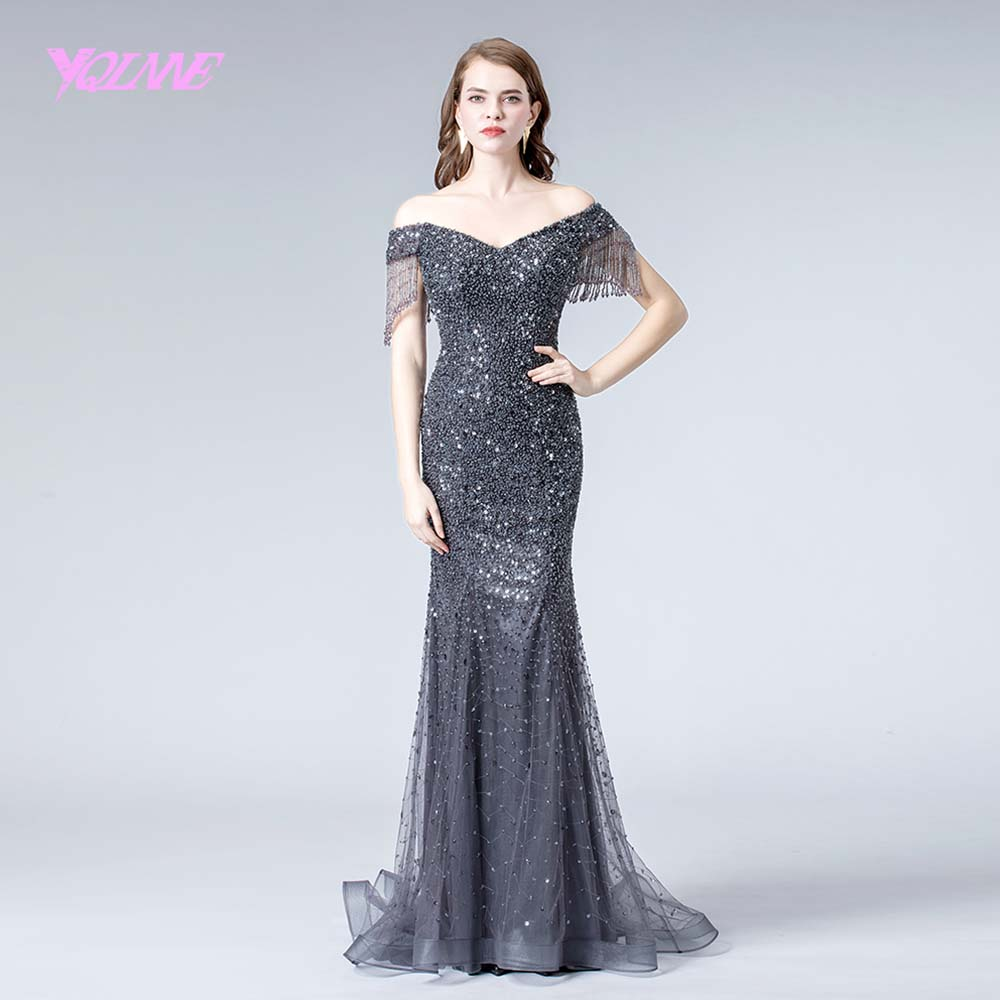 2019 Gray Off Shoulder Crystals   Evening     Dress   Formal   Evening   Gown Beaded Mermaid   Dresses   YQLNNE