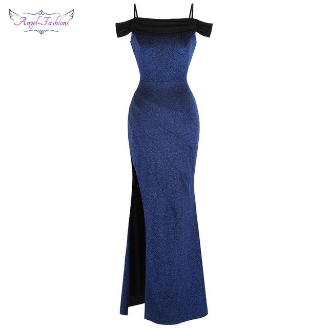 8e565dd03006e US $38.69 10% OFF|Angel fashions Women's Boat Neck Pleated Split Mermaid  Long Evening Dress Blue J 190103 S 388-in Evening Dresses from Weddings &  ...