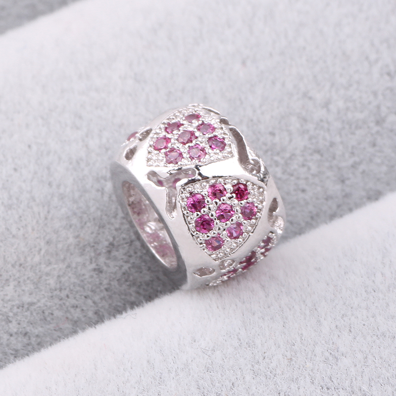 Ranqin New CZ Pave Spacer Beads Fit Pandora Charms Bracelet 925 Silver Jewelry Stopper For Making DIY Accessories