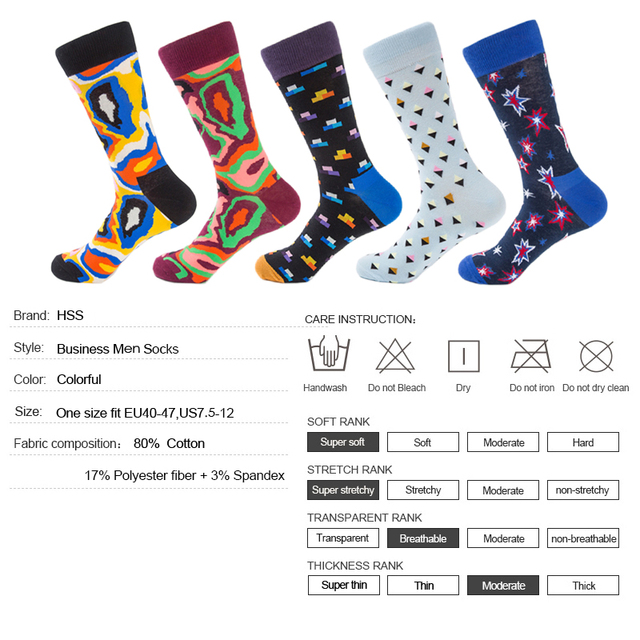 HSS New Brand Pop Art Socks Novetly Funny Men/Women Happy Socks Standard Cotton 5 Pairs/lot Colorful Casual Sock Big Size Socks