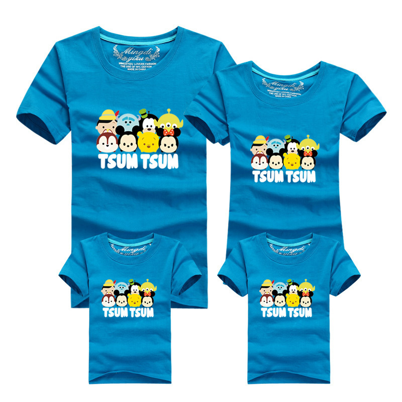 14 Colors Cartoon Minions Printed Women Men Kids T Shirts Family Clothing Father Mother Daughter Son Sport Shirt Clothes In Matching Outfits