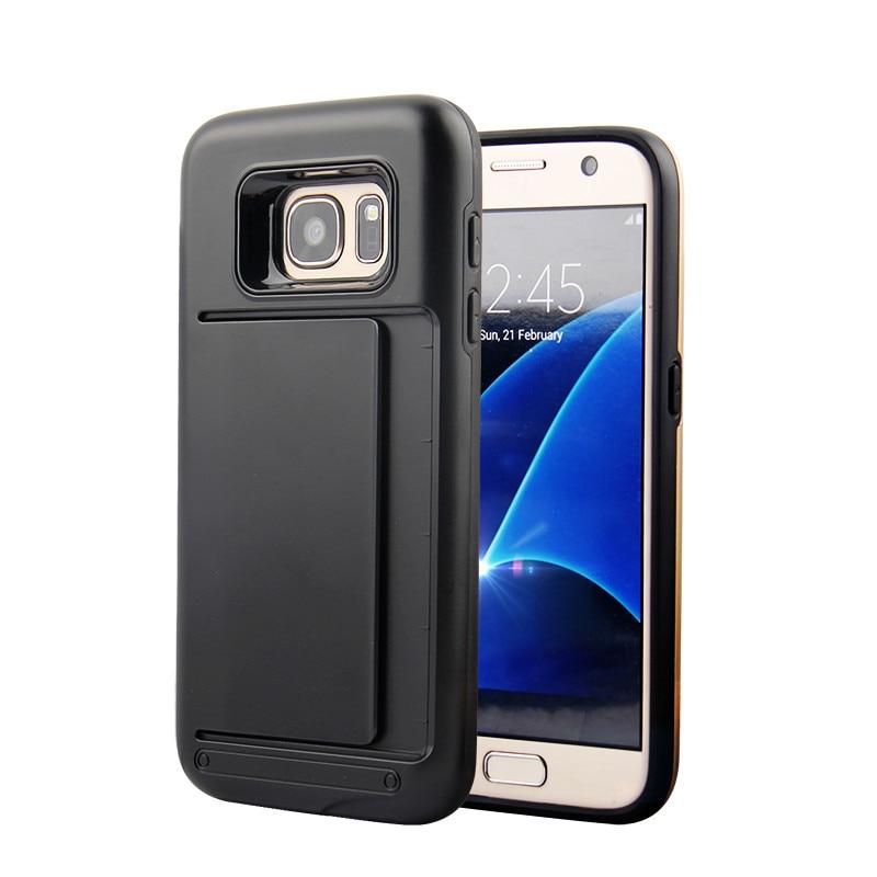 Пластик Панцири держатель карты назад Чехол для Samsung Galaxy S7 Edge S7 случае двойной Слои силиконовый держатель кредитной карты слот Чехлы для ман...