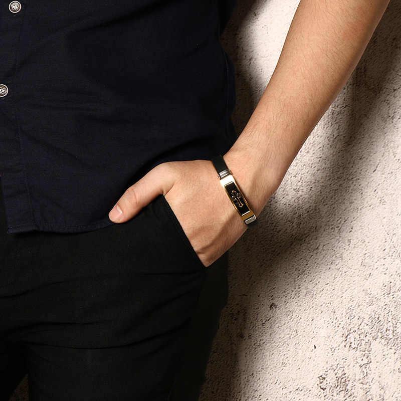 "Gold Tone CROSS Cuff สร้อยข้อมือยางสีดำกำไลข้อมือชายสวดมนต์ Armhand เครื่องประดับ 8"""
