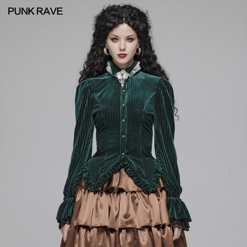 PUNK RAVE Women's Gothic Dark-Grain Velvet Elastic Long Sleeve Fashion Beautiful Women Shirt Party Club Women Tops Shirts