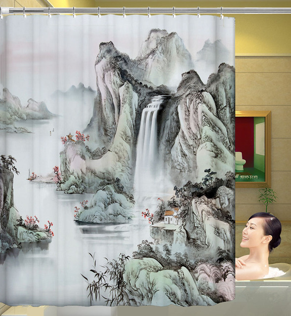 Polyester Shower Curtain Traditional Chinese Ink 3D Waterfall Bath ...