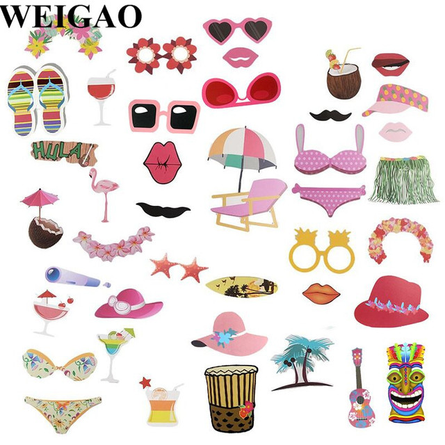 Weigao 42pcs Hawaii Theme Party Photo Booth Props Summer Sea Beach