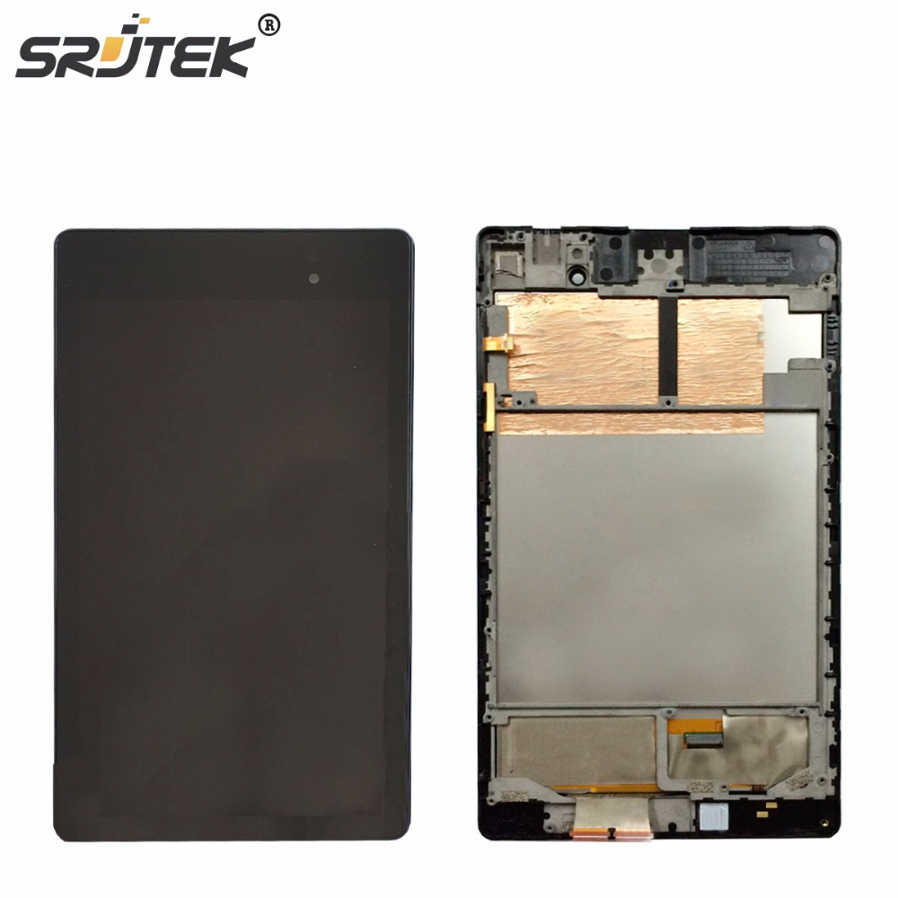 Srjtek For ASUS Google Nexus 7 2nd ME572 ME572C ME572CL LCD Display Matrix Touch Screen Digitizer Sensor Assembly with Frame free shipping for motorola google nexus 6 xt1100 xt1103 lcd display touch screen with frame assembly with free tools