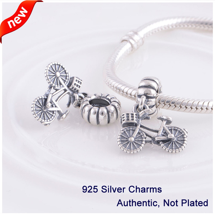 L360 2014 New Bicycle with Basket & Heart Detail Hanging Charms Authentic 925 Silver Beads fit for Pandora bracelets & NecklacesL360 2014 New Bicycle with Basket & Heart Detail Hanging Charms Authentic 925 Silver Beads fit for Pandora bracelets & Necklaces