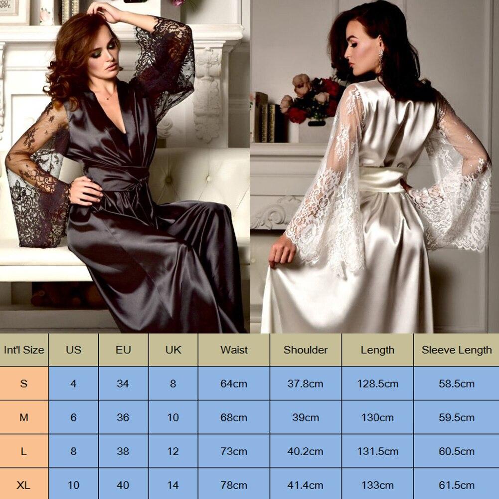 HTB1UicBcEuF3KVjSZK9q6zVtXXa5 4 Colors Womens Solid Silk Satin Robe Sexy Lace Nightgown Pajamas Sleepwear Kimono Babydoll Dress XL