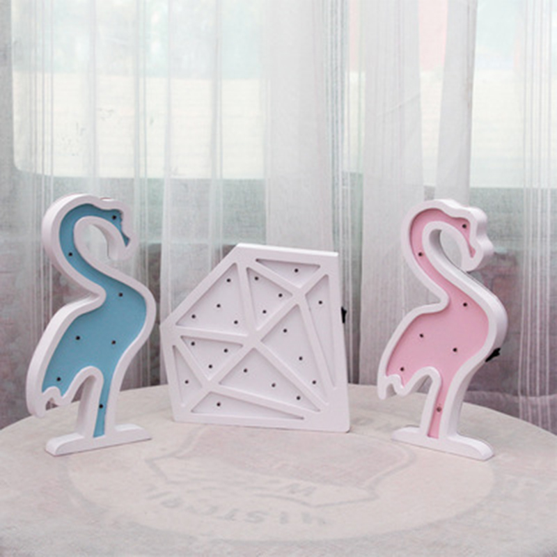 Jiaderui Led Wall Night Light Wooden Flamingo Diamond Table Lamp Home Bedroom Living Room Indoor Decor Light Kids Children Gift jiaderui ballon led night lamp wooden table light for kids gift bedside bedroom living room indoor lighting home decoration
