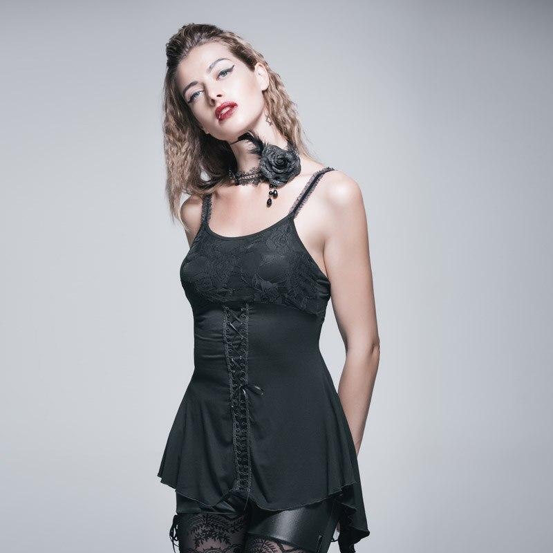 Diable mode été gothique Sexy dos nu débardeur hauts pour femmes noir Rose dentelle T-Shirts