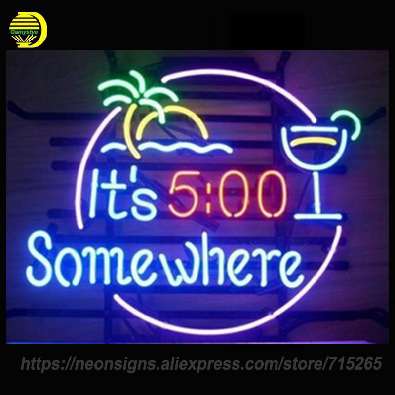 Neon Signs For It's 5:00 Somewhere Neon Bulbs Sign Handcraft Recreation Room Palm Tree Neon Light Business Display Warranty Sign
