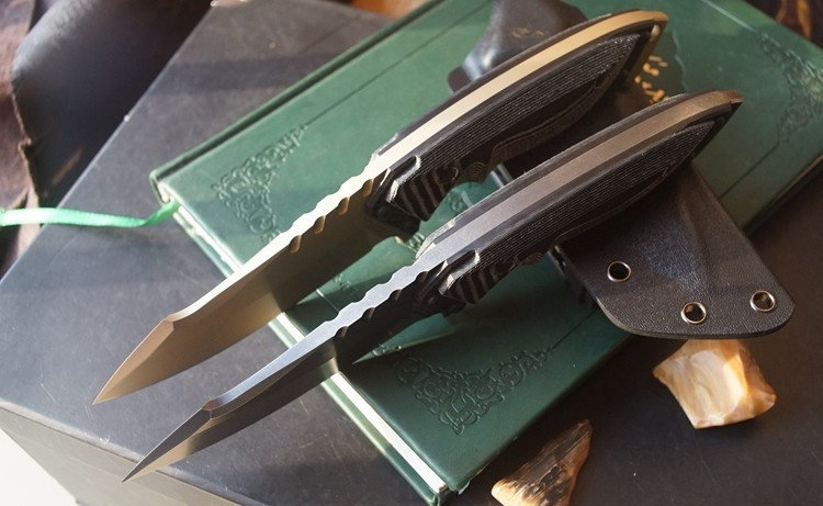 Купить Очень резкое Бронза/StoneWashed D2 Стеклоочистителя Micarta Выживание Открытый Нож Фиксированным Лезвием Прямой Нож Охота Тактические Ножи дешево