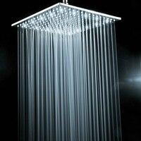 BECOLA латунный хромированный квадратный 16 дюймов светодиодный душевой насадка не с душевой рукояткой белый свет светодиодный душ