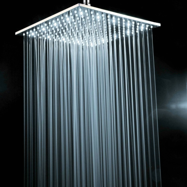 Exceptionnel BECOLA Brass Chrome Square 16 Inch LED Shower Head Not With Shower Arm  White Light Led