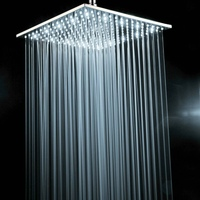 BECOLA Brass chrome square 16 inch LED shower head not with shower arm white light led shower