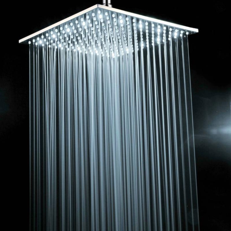 BECOLA laiton chrome carré 16 pouces LED pomme de douche pas avec bras de douche lumière blanche LED douche