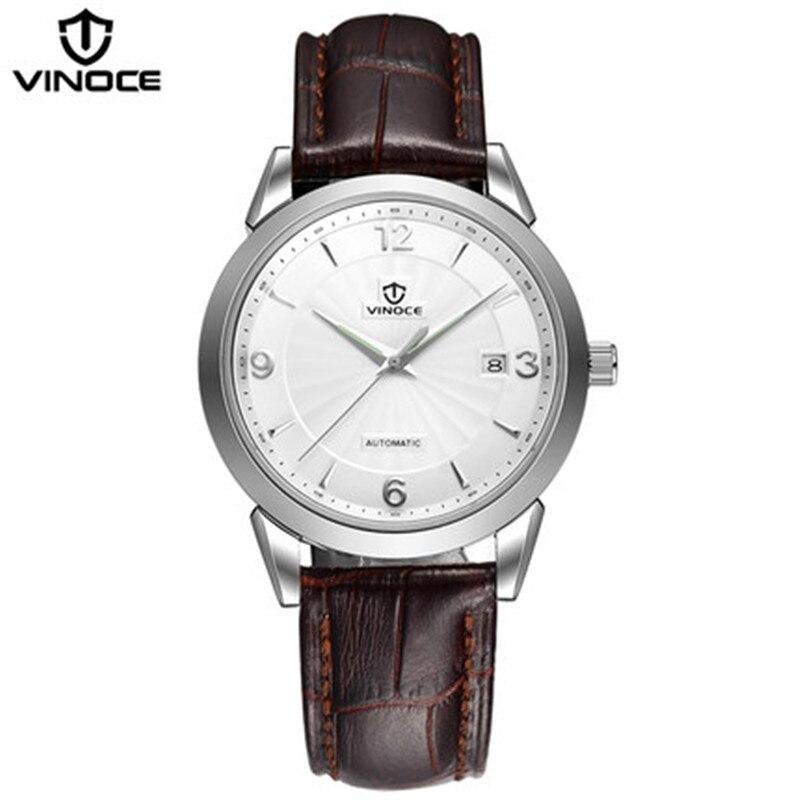 VINOCE men casual fashion watch sports watch font b mechanical b font movement waterproof leather strap